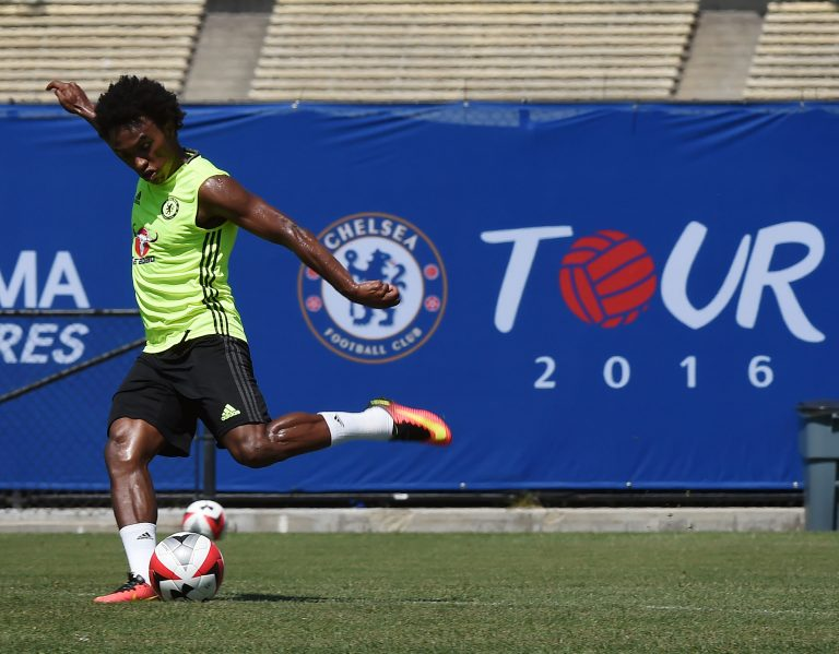 Chelsea footballer Willian of Brazil trains before their International Champions Cup (ICC) game against Liverpool, at the UCLA Campus in Westwood, California on July 26, 2016.   The two teams will meet at the Rose Bowl on July 27, 2016. / AFP / Mark Ralston        (Photo credit should read MARK RALSTON/AFP/Getty Images)