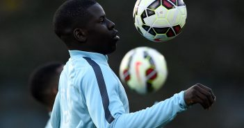 Frances's defender Kurt Zouma controls the ball during a training session in Clairefontaine on March 23, 2015 on the first day of their training ahead of a friendly football match against Brazil to be held on March 26. AFP PHOTO / FRANCK FIFE        (Photo credit should read FRANCK FIFE/AFP/Getty Images)