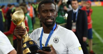Germany's defender Antonio Rudiger holds the trophy after beating Chile 1-0 to win the 2017 Confederations Cup final football match between Chile and Germany at the Saint Petersburg Stadium in Saint Petersburg on July 2, 2017. / AFP PHOTO / PATRIK STOLLARZ        (Photo credit should read PATRIK STOLLARZ/AFP/Getty Images)