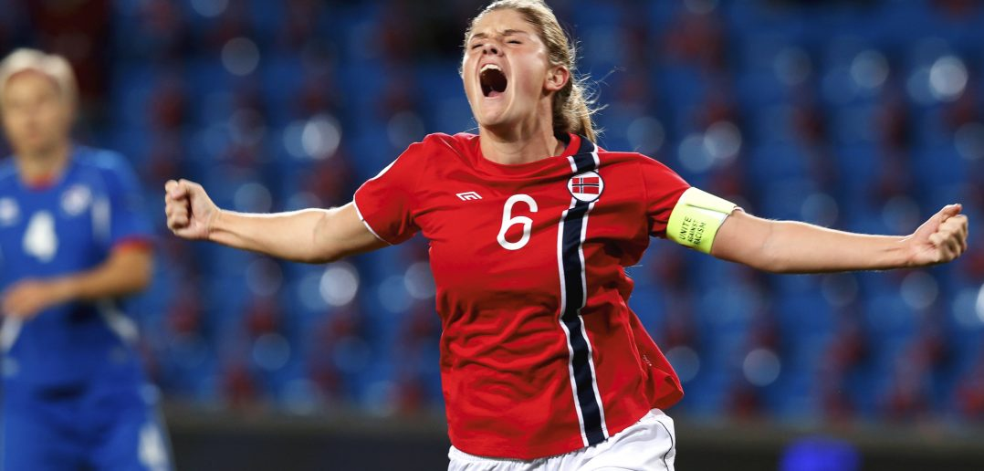 Norway's Maren Mjelde celebrates her 1-0 goal against Iceland during their UEFA Women's Euro 2013 football qualifier in Oslo on September 19, 2012. AFP PHOTO /  SCANPIX / Terje Bendiksby        (Photo credit should read Bendiksby, Terje/AFP/GettyImages)