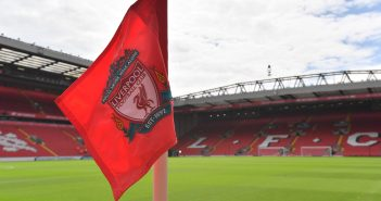 A corner flag displaying Liverpool's club crest is pictured in the sunshine ahead of the English Premier League football match between Liverpool and Arsenal at Anfield in Liverpool, north west England on August 27, 2017. / AFP PHOTO / Anthony DEVLIN / RESTRICTED TO EDITORIAL USE. No use with unauthorized audio, video, data, fixture lists, club/league logos or 'live' services. Online in-match use limited to 75 images, no video emulation. No use in betting, games or single club/league/player publications.  /         (Photo credit should read ANTHONY DEVLIN/AFP/Getty Images)