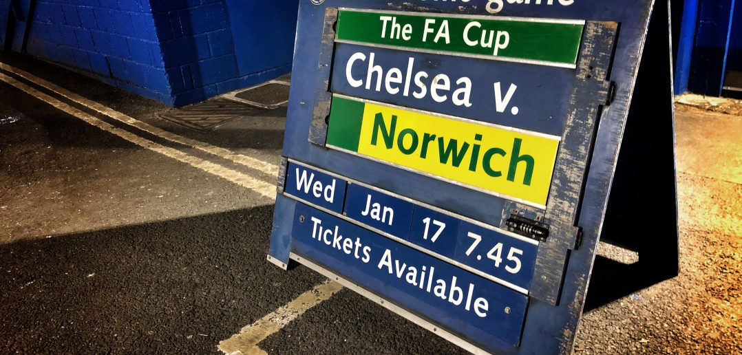 LONDON, ENGLAND - JANUARY 17:  (EDITORS NOTE: This image has been digitaly proccesed) A board outside the stadium reads the match fixture prior to The Emirates FA Cup Third Round Replay between Chelsea and Norwich City at Stamford Bridge on January 17, 2018 in London, England.  (Photo by Mike Hewitt/Getty Images)