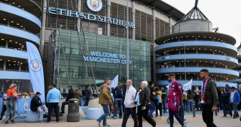 MANCHESTER, ENGLAND - SEPTEMBER 23:  Fans walk outside the stadium prior to the Premier League match between Manchester City and Crystal Palace at Etihad Stadium on September 23, 2017 in Manchester, England.  (Photo by Alex Livesey/Getty Images)