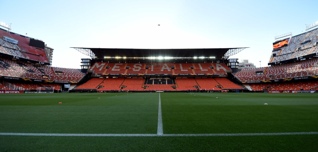 VALENCIA, SPAIN - MAY 09:  General view inside the stadium prior to the UEFA Europa League Semi Final Second Leg match between Valencia and Arsenal at Estadio Mestalla on May 09, 2019 in Valencia, Spain. (Photo by Alex Caparros/Getty Images)